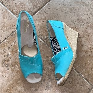 Blue Wedge Toms